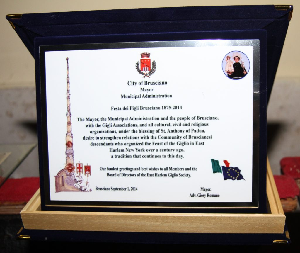 City of Brusciano Present Plaque to East Harlem Giglio Society