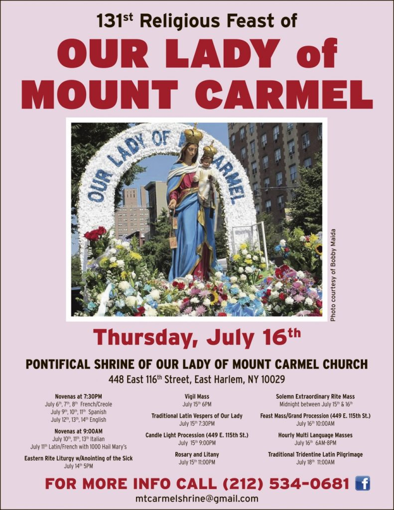 Feast Day of Our Lady of Mt Carmel Celebration Schedule
