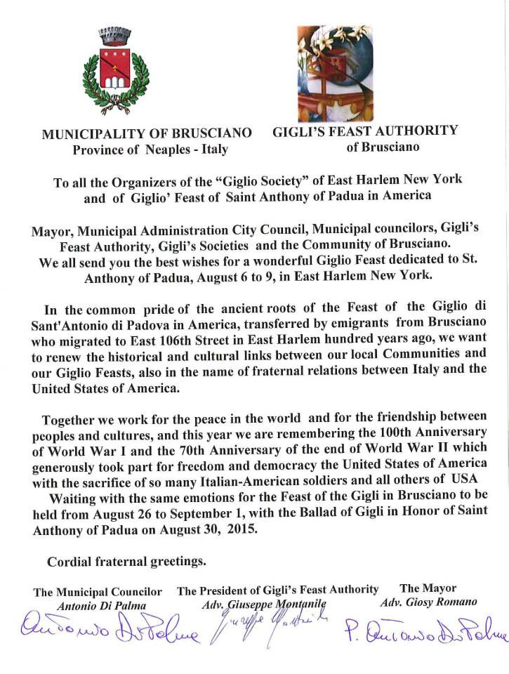 Letter from Brusciano