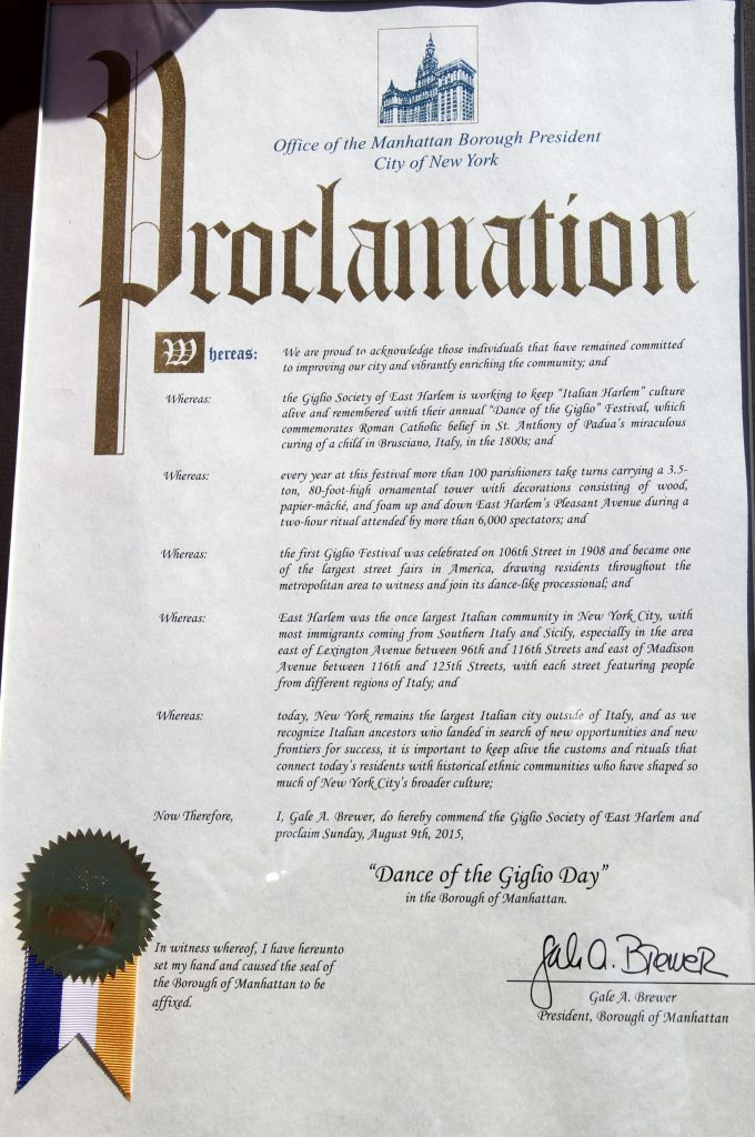 Giglio Day Proclamation