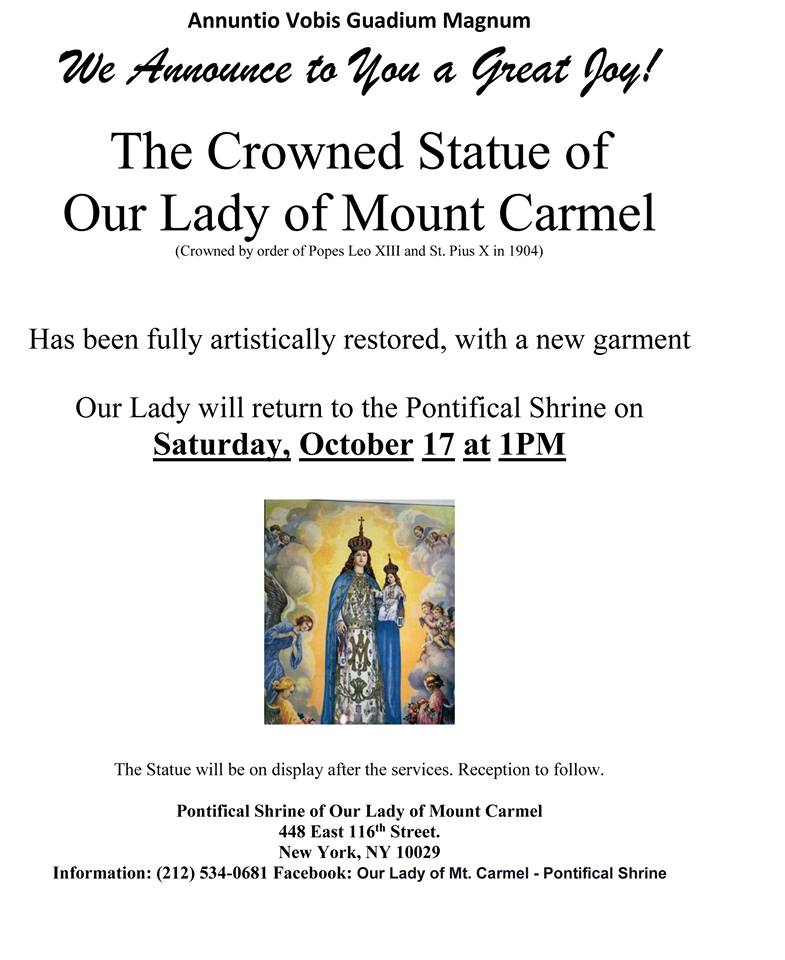 Our Lady of Mt. Carmel RESTORED