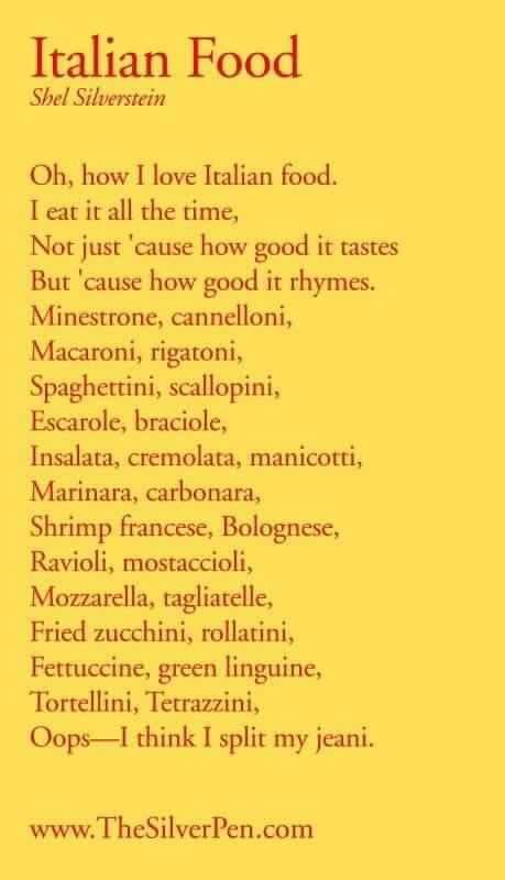 Italian Food Poem
