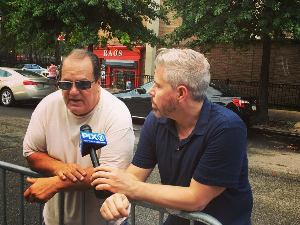 Greg Mocker interviewing Capo Phil Bruno on WPIX News
