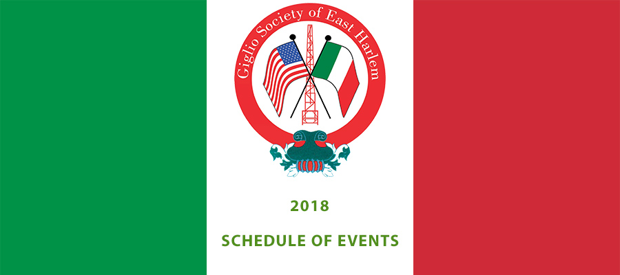 Giglio Society of East Harlem Schedule of Events 2018