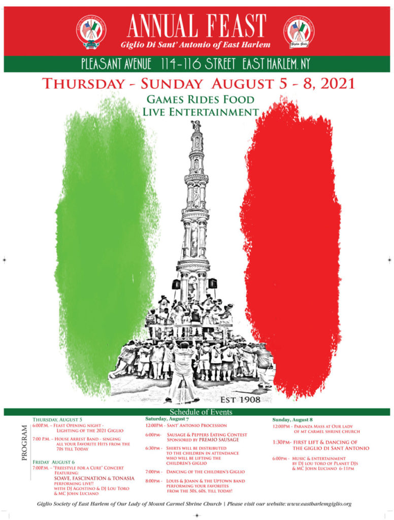 2021 EAST HARLEM GIGLIO FEAST POSTER
