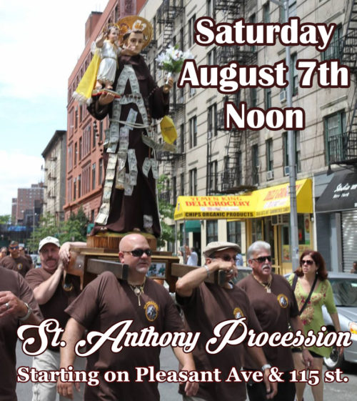 Saturday August 7 Noon – Saint Anthony Procession